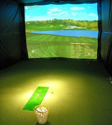 Indoor practice facility at Wynding Brook Golf Club