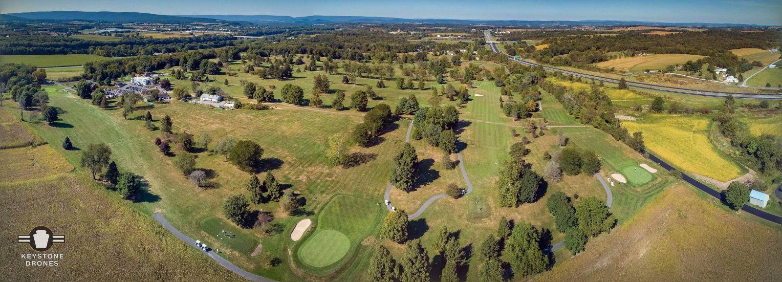 aerial shot of wynding brook golf club in milton pa